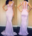 Elegant Sleeveless Lavender Floor Length Drop Waist Mermaid Prom Dress