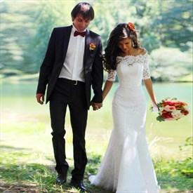 Elegant Half Sleeve Off The Shoulder Mermaid Lace Long Wedding Dress