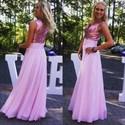 Pink V-Neck Sleeveless Full Length Chiffon Dress With Sequin Bodice