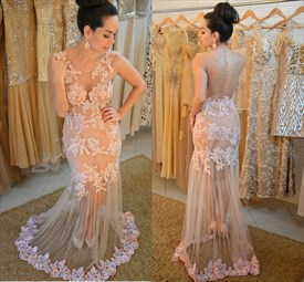 Illusion Sleeveless Lace Applique Embellished Mermaid Evening Dress