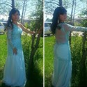 Illusion One Shoulder Long Sleeve Dropped Waist Mermaid Evening Gown