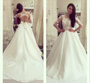 Illusion A-Line Lace Bodice Keyhole Back Wedding Dress With Sleeves