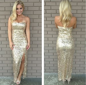 Simple Champagne Strapless Ankle Length Sequin Evening Dress With Slit