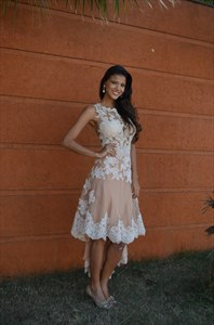 Elegant Tea Length High Low Sleeveless Lace Embellished Cocktail Dress