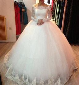 White Off Shoulder Lace Embellished Tulle Wedding Dress With Sleeves