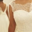 Backless Sleeveless Lace Neckline Floor Length Chiffon Wedding Dress