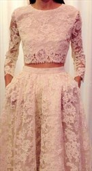 Two Piece Long Sleeve Floor Length A-Line Lace Prom Dress With Train