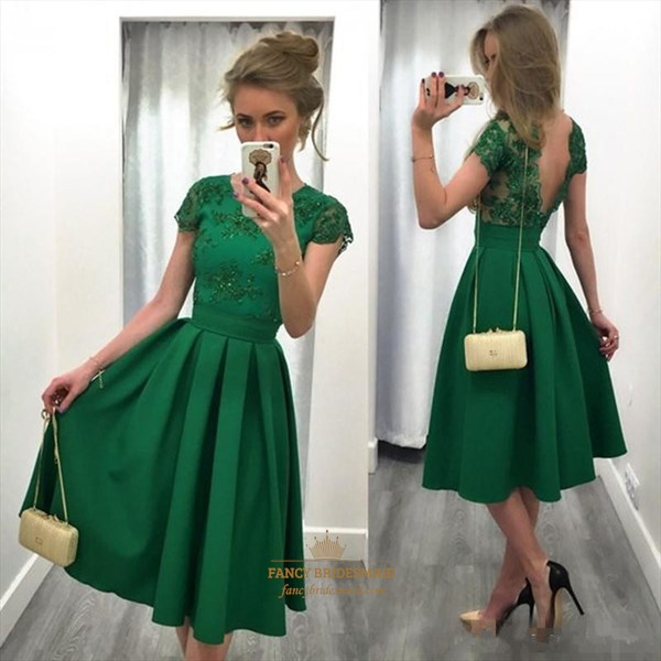 Lovely Emerald Green Short Sleeve Knee Length A-Line Homecoming Dress