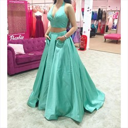 Floor Length V-Neck A-Line Two Piece Halter Top Prom Dress With Pocket