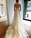 Spaghetti Strap Floor Length A-Line Backless Applique Wedding Dress