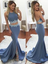 Halter Backless Floor Length Two Piece Mermaid Evening Dress With Lace