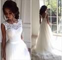 Sleeveless Floor Length A-Line Lace Bodice Tulle Bottom Wedding Dress