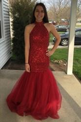 Red Sleeveless Beaded Bodice Drop Waist Tulle Mermaid Evening Dress