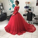 Off The Shoulder Long Sleeve Red Embellished Floor Length Ball Gown