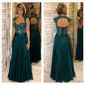 Teal Cap Sleeve Sheer Lace Corset Bodice Backless Long Formal Dress