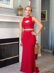 Red Two Piece Backless Lace Applique Long Formal Dress With Keyhole