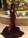 Burgundy Sleeveless Floor Length Mermaid Evening Dress With Keyhole Front
