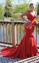 Red V Neck Mermaid Open Back Long Formal Dresses With Train