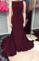 Burgundy Open Back Long Mermaid Sleeveless Formal Dress With Train