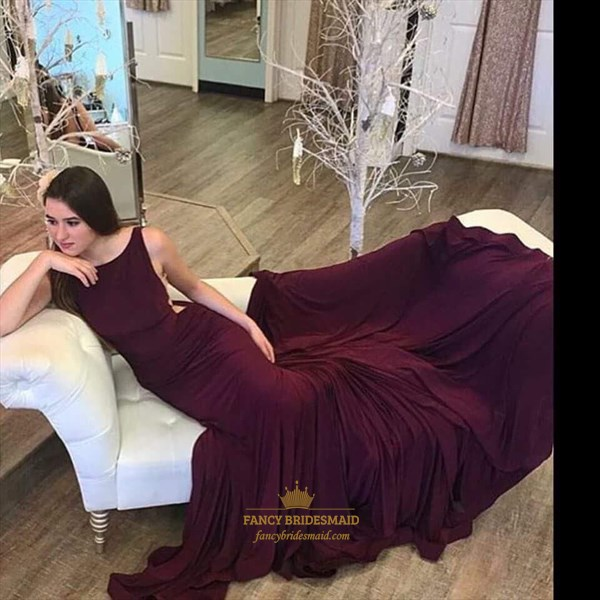 Burgundy Open Back Long Mermaid Sleeveless Formal Dress With Train