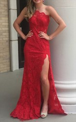 Red One Shoulder Lace Long Evening Dress With Side Cutouts
