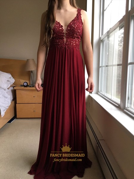 Burgundy V Neck Lace Top Chiffon Floor Length Bridesmaid Dress