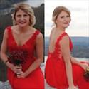 Red Open Back Lace Bodice Sleeveless Chiffon Long Bridesmaid Dress