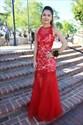 Red Sheer Neckline Lace Embellished Bodice Mermaid Formal Dress