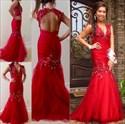 Red V-Neck Beaded Cap Sleeve Backless Mermaid Floor Length Prom Dress