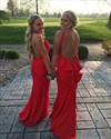 Red Sleeveless Backless Floor Length Sheath Evening Gown