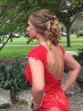 Red Open Back Cap Sleeve Sheer Lace Prom Dress With Slits