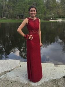 Burgundy Beaded Embellished Sleeveless Floor Length Sheath Prom Dress