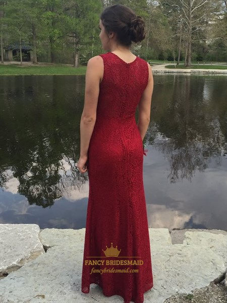 Burgundy Beaded Embellished Sleeveless Floor Length Sheath Prom Dress