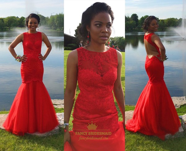 Red Floor Length Lace Embellished Backless Formal Dress