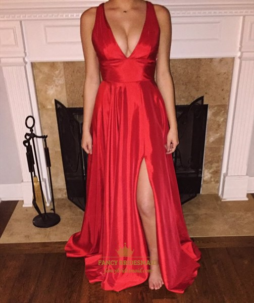 Red V Neck Backless Long Sleeveless Formal Dress With Slits