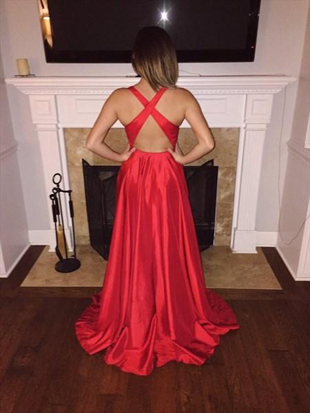 Red V Neck Backless Long Sleeveless Formal Dress With Slits