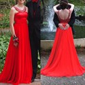 Red Beaded Open Back A Line Floor Length Evening Dress