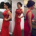 Red Lace Embellished Sleeveless Open Back Long Formal Dress