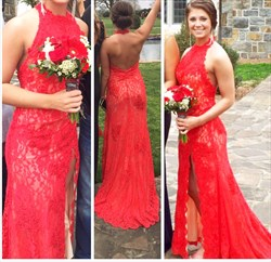 Red Halter Neck Open Back Lace Long Formal Dress With Slits