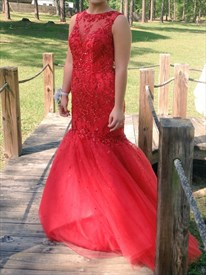 Red Backless Embellished Lace Top Tulle Mermaid Prom Gown