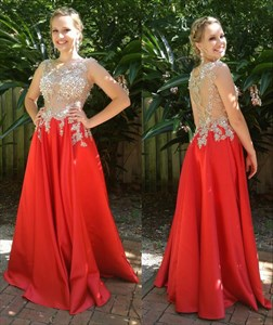 Red Sheer Lace Applique Top A Line Floor Length Formal Dress