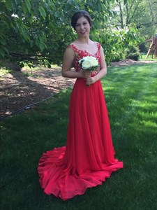 Red Open Back Chiffon Long Bridesmaid Dress With Lace Bodice
