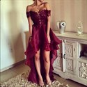 Burgundy Embellished Off The Shoulder High Low Formal Dress