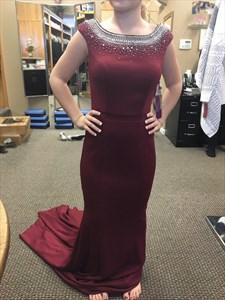 Burgundy Cap Sleeve Open Back Beaded Long Evening Dress