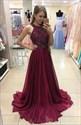 Burgundy Halter Beaded A Line Floor Length Chiffon Formal Dress