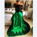 Emerald Green Off The Shoulder Sheer Lace Long Sleeve Formal Dress
