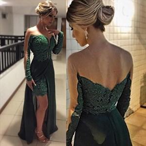 Emerald Green Lace Illusion Long Sleeve Dress With Chiffon Overlay