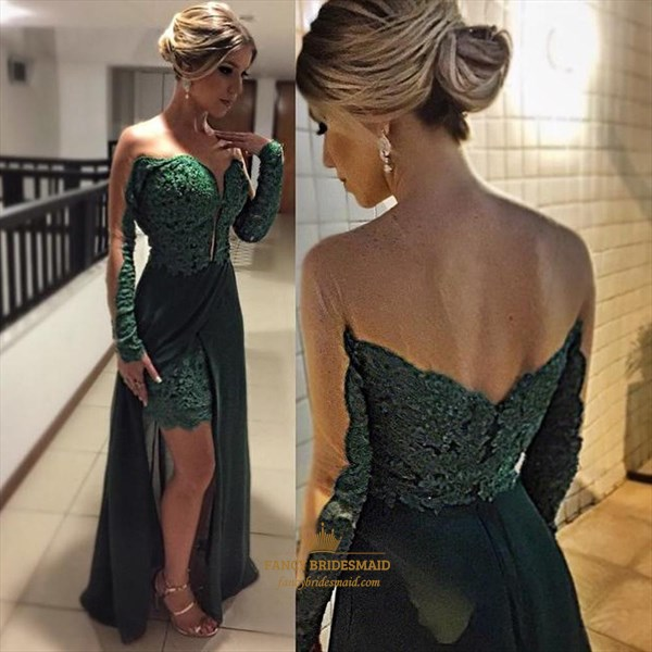 Emerald Green Lace Illusion Long Sleeve Dress With Chiffon Overlay