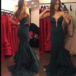Emerald Green Strapless Sweetheart Long Chiffon Mermaid Evening Dress