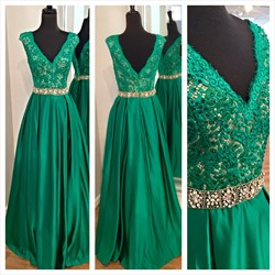Emerald Green Cap Sleeve Lace Top Open Back Floor Length Formal Gown